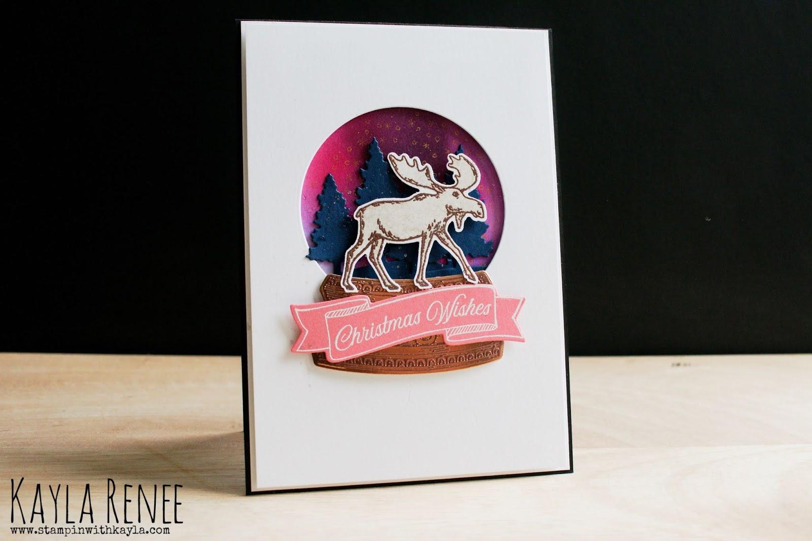 Merry Moose & Snow Globe ~ Christmas Card