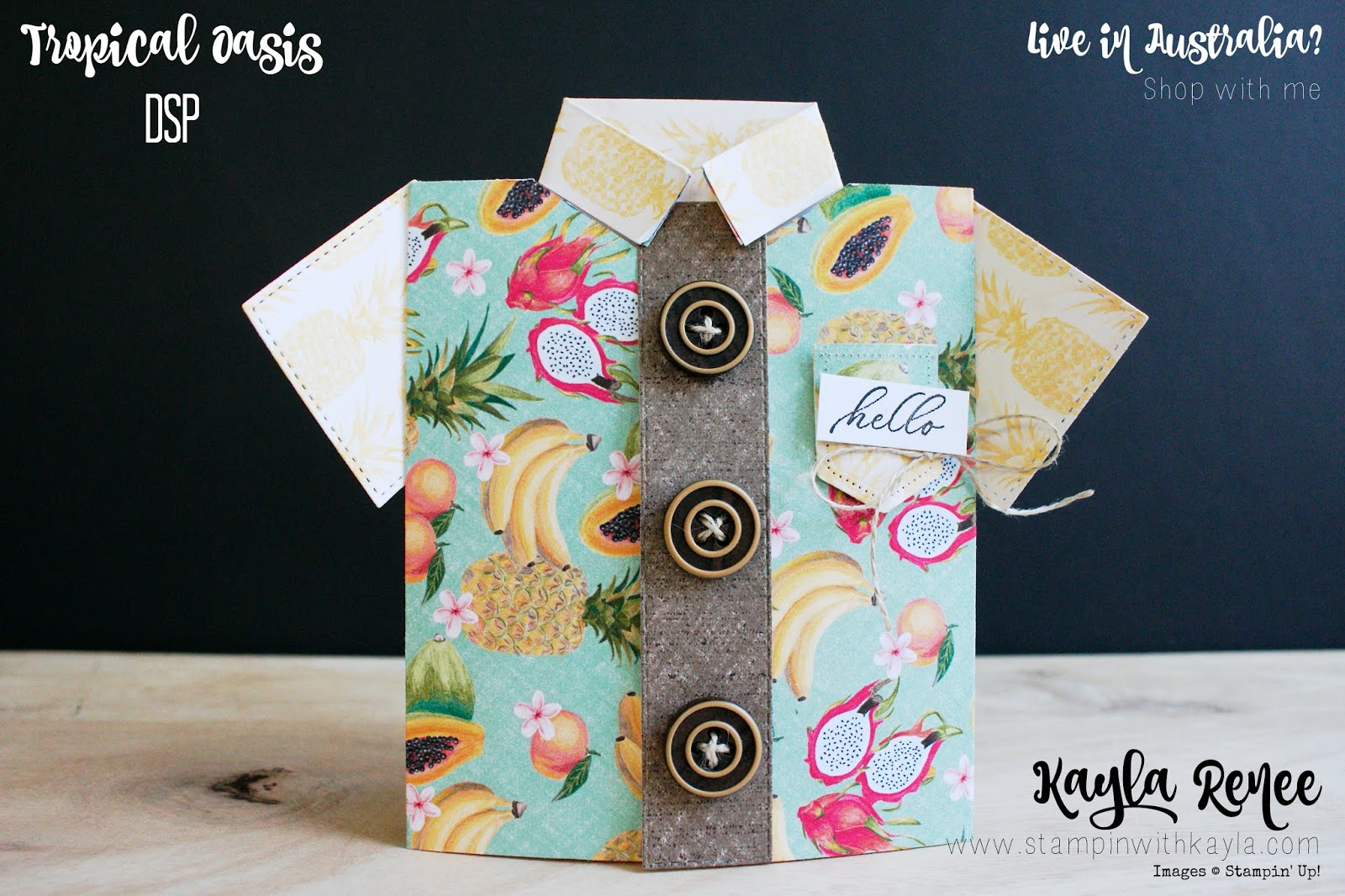Tropical Oasis ~ Masculine T-Shirt Birthday Card